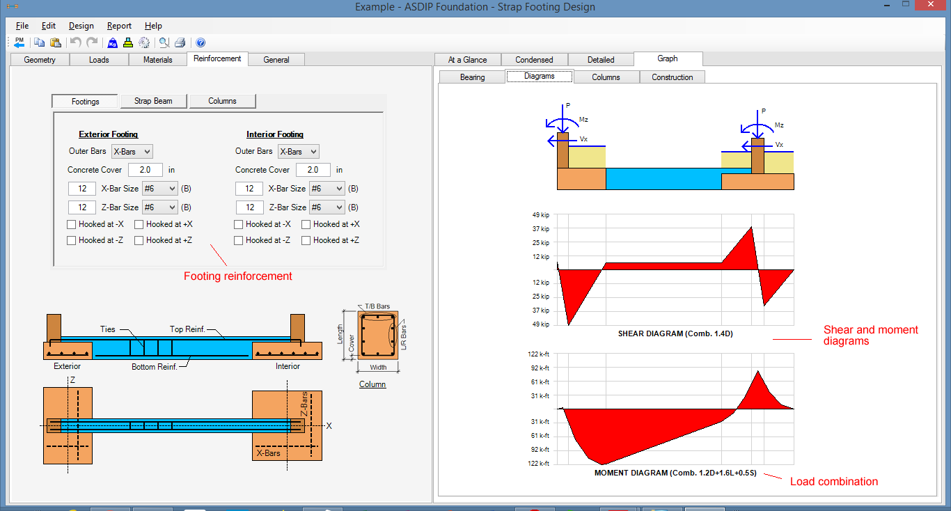 Spread, Combined, Strap Footing Design Software - ASDIP FOUNDATION