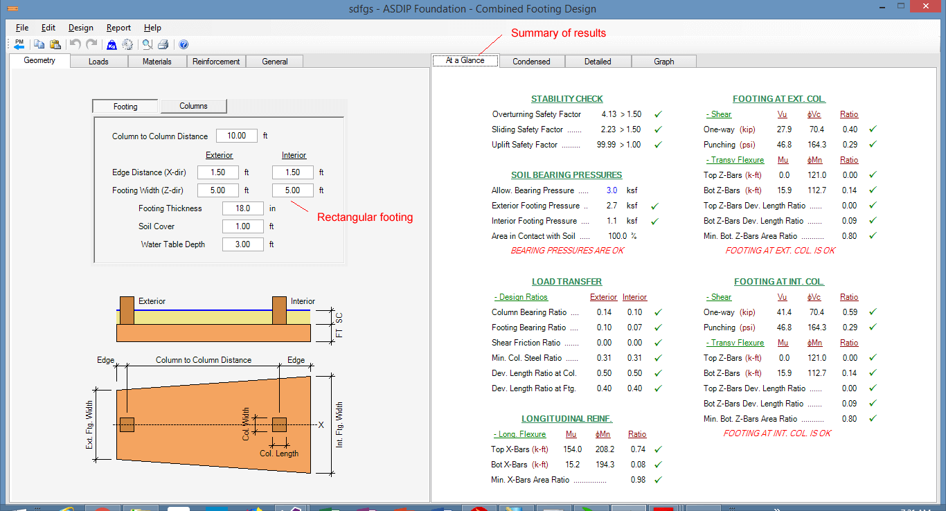 combined-footing-summary-of-results